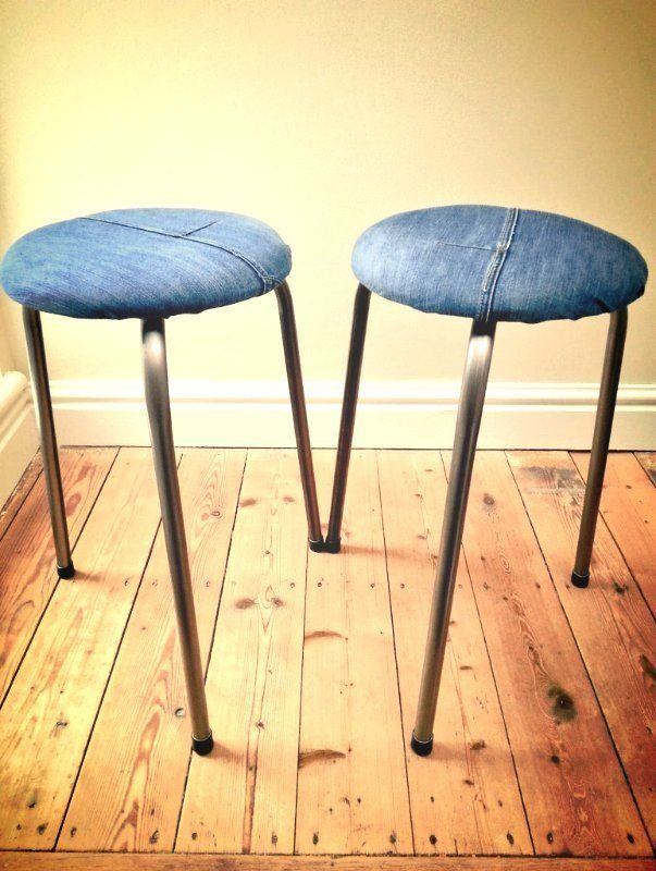 denim stool, original designer stool, upcycled denim, upcycled stool, stools, reupholstered stool, redesigned stool, metal leg stools, road map decouaged stool, eco friendly gifts, sustainable gifts