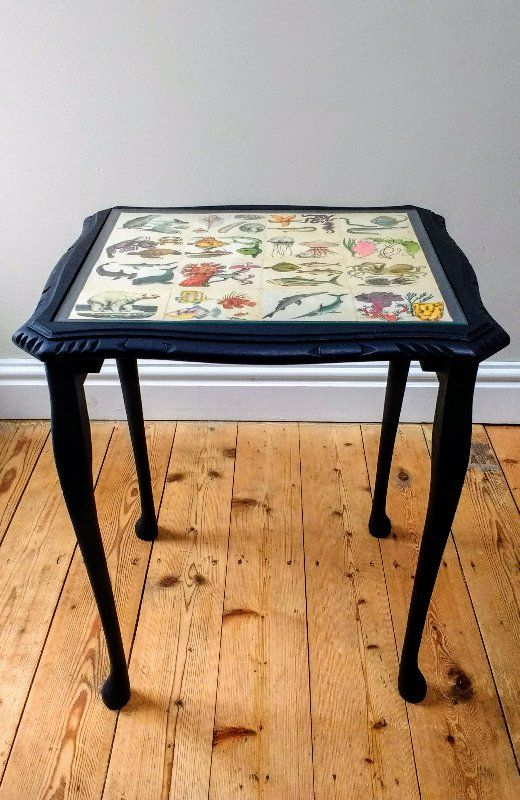 upcycled table, chalk painted table, upcycled home accessories, side table, black side table, quirky side table, glass topped side table