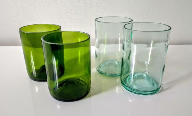 upcycled wine bottles, upcycled glasses, green glass tumblers, eco conscious gifts, green, glasses set, handmade glasses, designer drinking glasses, reuse, sustainable, eco friendly gifts
