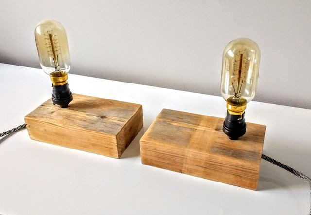 upcycled lamps, bedside lights, bedside lamps, bedside block lamps, vintage bulb lights, filament bulb lights, filament bulb bedside lamps, wooden block lights, pallet lights