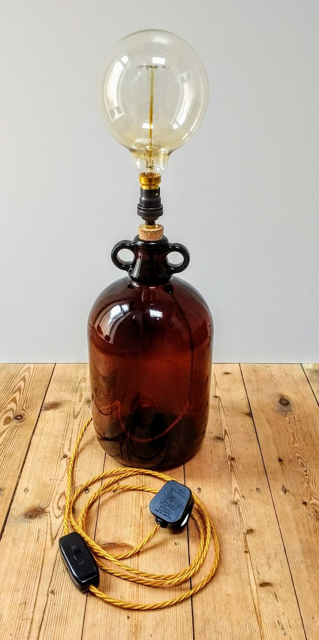 demijohn light, demijohn lamp, upcycled demijohn light, upcycled lighting, upcycled lamp, glass bottle light, salvaged demijohn, XL globe bulb, vintage light