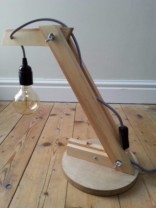 upcycled wooden anglepoise lamp, anglepoise designer lamp, handmade, original design lamp, reclaimed wood, vintage style lamp, vintage edison bulb, bakelite bulb holder, repurposed lamp, salvaged wood lamp