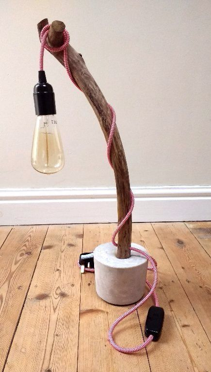 treebranch lamp, driftwood lamp, upcycled light, upcycled lighting, upcycled lamp, concrete lamp, vintage lighting cable, filament bulb, filament bulb table lamp, upcycled table lamp