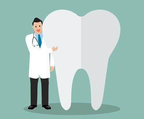 grafica di un dentista e accanto un dente