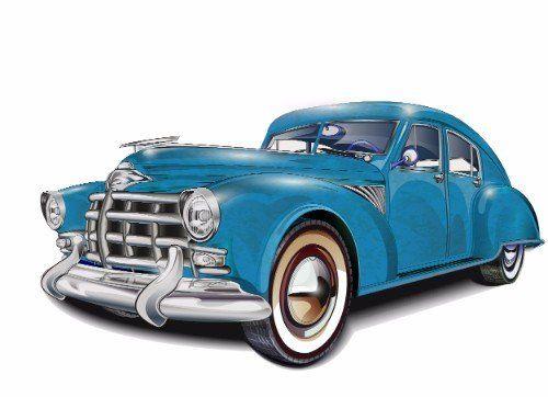 disegno di una macchina d'epoca blu