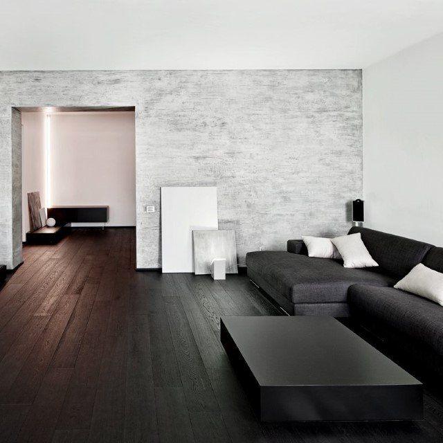un salotto decorato di nero