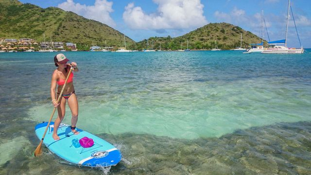 Jenny enjoying paddle boarding to Pinel Island