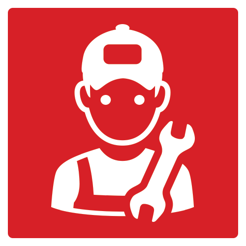 Square icon with mechanic and wrench
