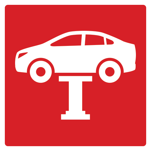 Red square icon with small car hoisted in air