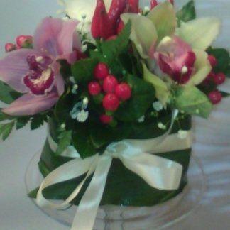 orchidea e rosa e  hypericum