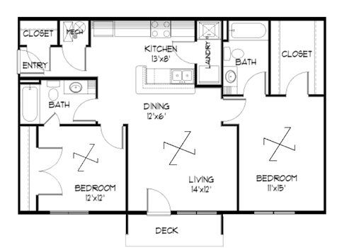 Plan 2.1 unfurnished 2-bedroom at Meadowbrook in Lawrence, Kansas