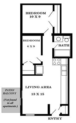 Plan 440 studio apartment at Meadowbrook, Lawrence, Kansas