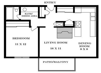 Plan 700 unfurnished 1-bedroom apartment at Meadowbrook in Lawrence, Kansas