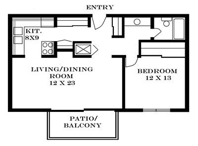 Plan 1.6 unfurnished 1-bedroom apartment at Meadowbrook in Lawrence, Kansas