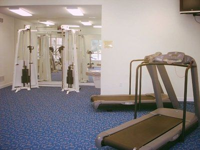 The fitness center at Meadowbrook Apartments in Lawrence, Kansas.