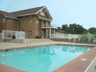 The clubhouse pool at Meadowbrook Apartments in Lawrence, Kansas