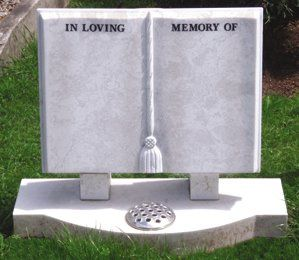 headstone in shape of open book