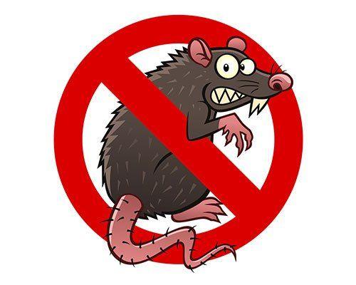 un cartello di divieto con un topo disegnato
