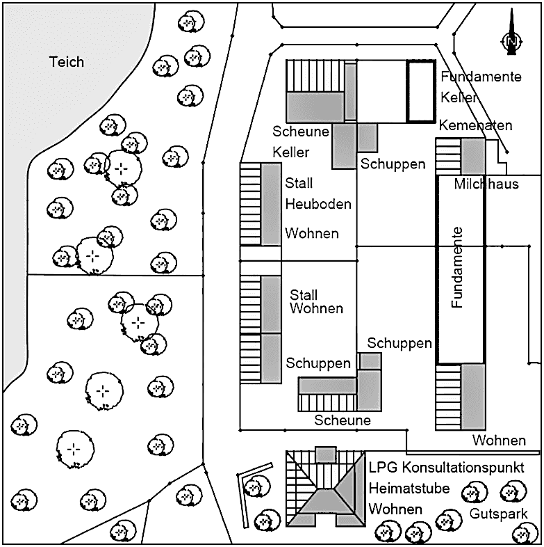 Abb. 9a Zerteilter Gutshof mit Resten historischer Gebäude um 1990 © Plan-Konzept und Ingenieurbüro Forner