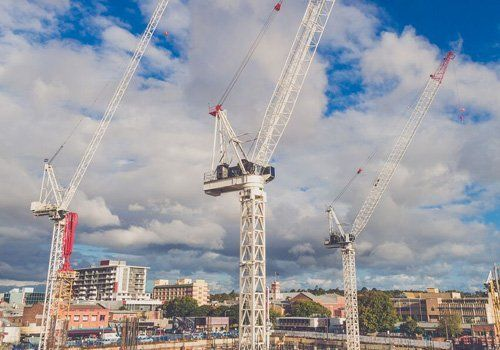 View of the crane working at the project site