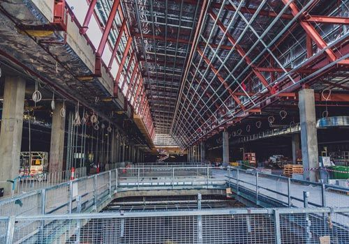 Interior view of an under construction building
