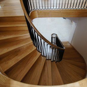 Middle section of spiral wooden staircase