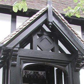 Top of detailed wooden porch