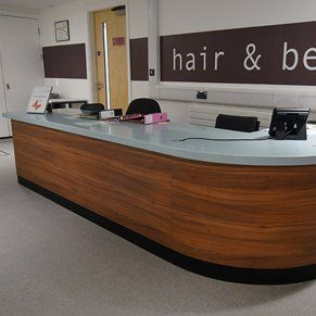 Reception desk for hair and beauty college