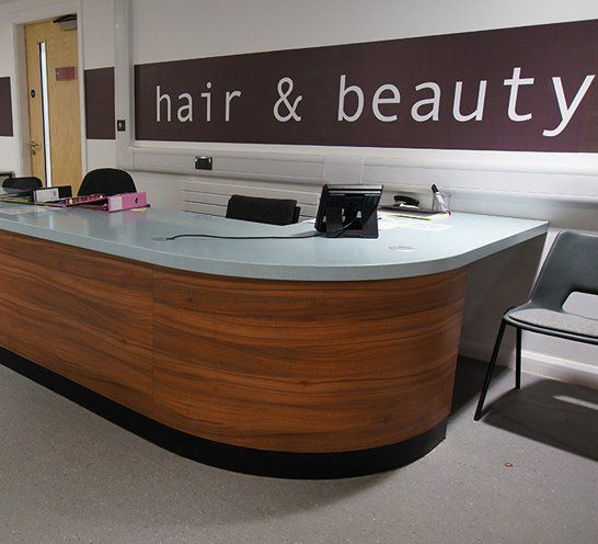 Reception desk at beauty college