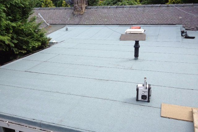 A flat roof after re-roofing