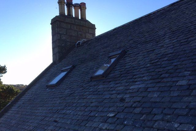 Completed roof slating work