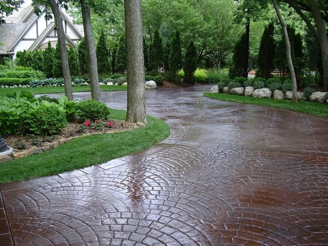 Stamped decorative concrete walkway we installed in Lincoln, NE