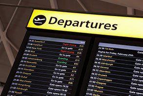 A departures board