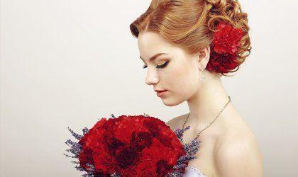 wedding bride holding flower bouquet