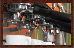 A coffee machine making coffee