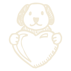 Icon of a cute dog holding a heart