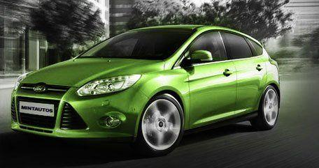 A bright metallic green car