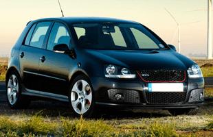 A sporty black car