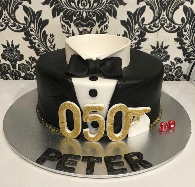 james bond custom cake tuxedo