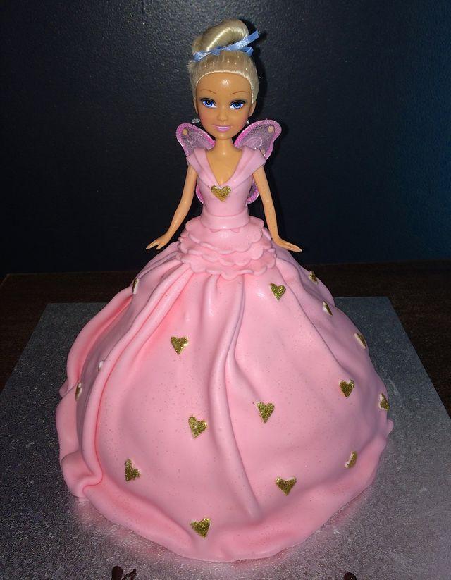 dolly varden pink barbie cake
