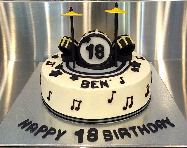 custom drum set on top of birthday cake