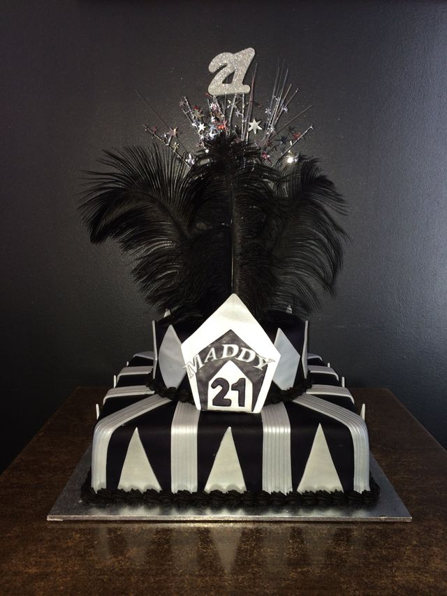 great gatsby themed birthday cake black silver