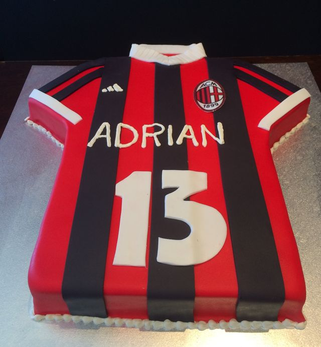 custom black and red soccer jersey cake