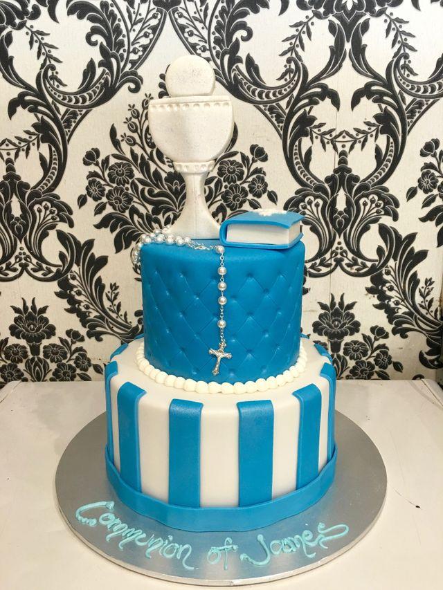 white and blue holy communion cake
