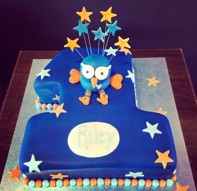 custom blue and orange hoot owl cake
