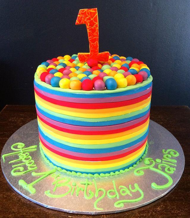 custom rainbow cylinder birthday cake