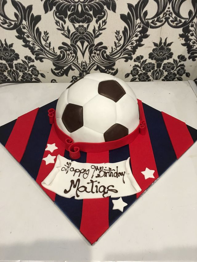 custom black and red soccer ball birthday cake