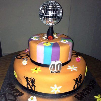 Disco ball 40th birthday cake