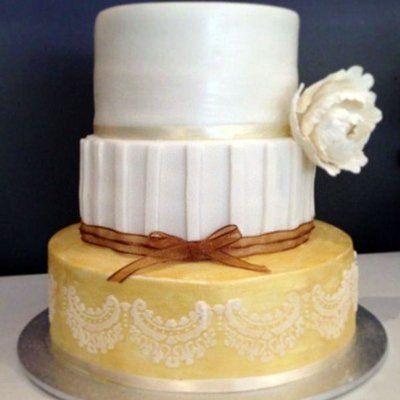 Chocolate mud cake wedding cake with stencilling