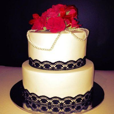 Chocolate mud cake wedding cake with black lace and pearls